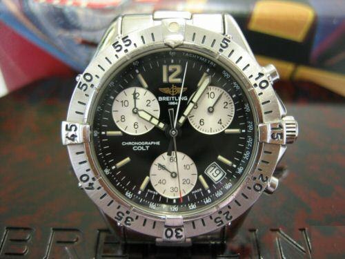 diameter 41.5 mm from 1998, Breitling Pluton Intruder Ref. A51035 cal.51  from 1998. Breitling Chrono Colt Quartz